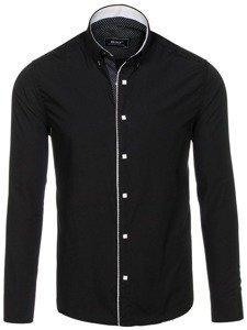 Černá pánská elegantní košile s dlouhým rukávem Bolf 7724