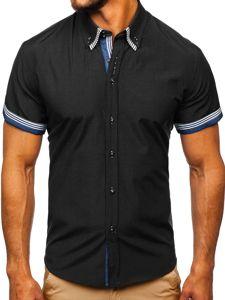 Černá pánská košile s krátkým rukávem Bolf 2911