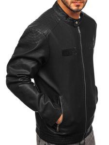 Černá pánská koženková bunda Bolf 1122