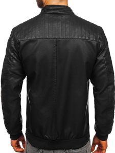 Černá pánská koženková bunda Bolf 1123