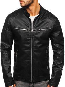 Černá pánská koženková bunda Bolf 1129