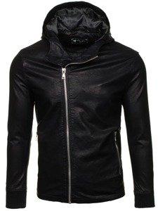 Černá pánská koženková bunda Bolf 9110