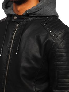 Černá pánská koženková bunda s kapucí Bolf 1135