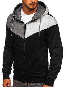 Černá pánská mikina na zip s kapucí Bolf KS2172
