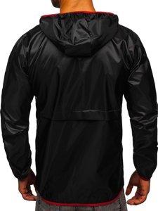 Černá pánská přechodová sportovní bunda s kapucí Bolf 5061