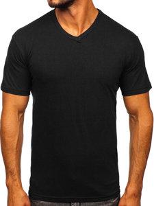 Černé pánské tričko bez potisku s výstřihem do V Bolf 192131