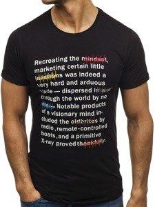 Černé pánské tričko s potiskem Bolf 2307