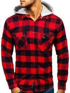Černo-červená pánská flanelová košile s dlouhým rukávem Bolf 1031