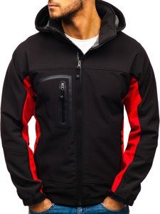 Černo-červená pánská softshellová bunda Bolf T019