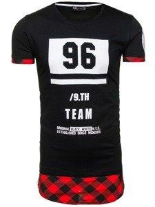 Černo-červené pánské tričko s potiskem Bolf 1094