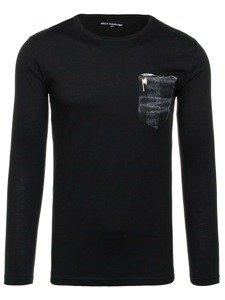 Černo-šedé pánské tričko bez potisku Bolf 355