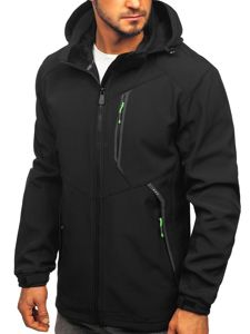 Černo-zelená pánská softshellová bunda Bolf 12266
