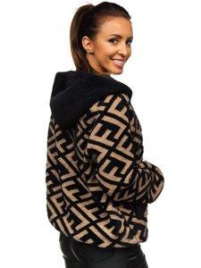 Čero-hnědá dámská přechodová bunda s kapucí Bolf 20670
