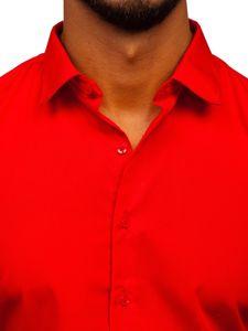 Červená pánská elegantní košile s dlouhým rukávem Bolf 0001