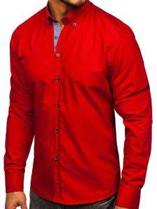 Červená pánská elegantní košile s dlouhým rukávem Bolf 8838-1
