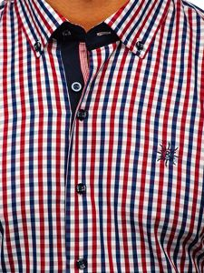 Červená pánská kostkovaná košile s krátkým rukávem Bolf 4510
