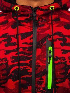 Červená pánská maskáčová mikina na zip s kapucí Bolf DD99-2