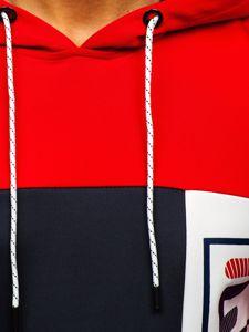 Červená pánská mikina s kapucí a potiskem Bolf DD20120