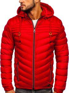 Červená pánská prošívaná sportovní zimní bunda Bolf 50A178