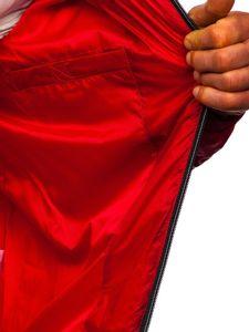 Červená pánská prošívaná sportovní zimní bunda Bolf 50A223