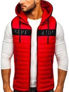 Červená pánská vesta s kapucí Bolf 6101
