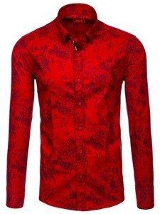 Červená pánská vzorovaná košile s dlouhým rukávem Bolf 470G19