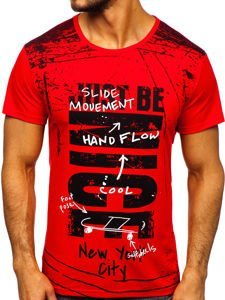 Červené pánské tričko s potiskem Bolf KS1983