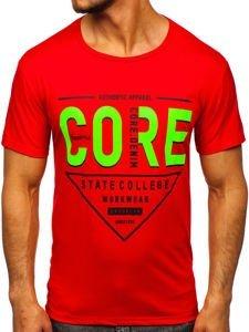 Červené pánské tričko s potiskem Bolf KS2098