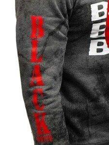 Grafitová pánská mikina bez kapuce s potiskem Bolf DD225