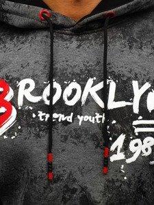Grafitová pánská mikina s kapucí a potiskem Bolf DD268