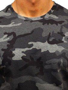 Grafitové pánské maskáčové tričko s potiskem Bolf S808
