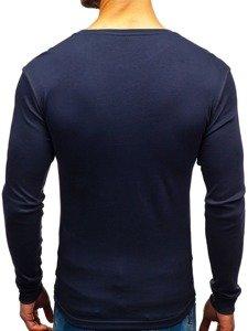 Grafitové pánské tričko s dlouhým rukávem bez potisku Bolf 145359