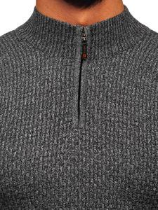 Grafitový pánský propínací svetr Bolf 8255