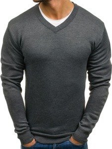 Grafitový pánský svetr s výstřihem do V Bolf s001