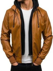 Kamelová pánská koženková bunda Bolf 9005