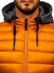 Kamelová pánská prošívaná vesta s kapucí Bolf B2679