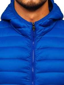 Kobaltová pánská mikina na zip s kapucí Bolf LY36