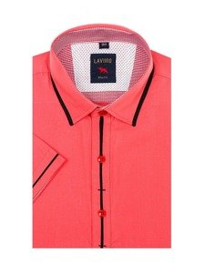 Korálová pánská elegantní košile s krátkým rukávem Bolf 027