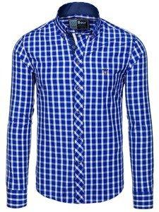 Královsky modrá pánská elegantní kostkovaná košile s dlouhým rukávem Bolf 4747