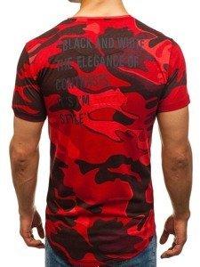 Maskáčovo-červené pánské tričko s potiskem Bolf 708