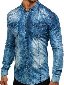 Modrá pánská džínová košile s dlouhým rukávem Bolf 0895