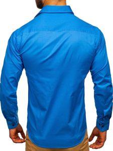 Modrá pánská elegantní košile s dlouhým rukávem Bolf TS50