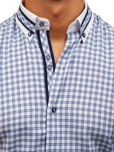 Modrá pánská kostkovaná košile s dlouhým rukávem Bolf 8808
