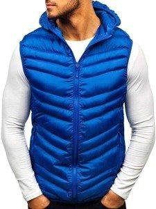 Modrá pánská prošívaná vesta s kapucí Bolf SM26