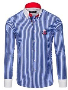 Modrá pánská proužkovaná košile s dlouhým rukávem Bolf 1771