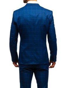 Modrý pánský kostkovaný oblek s vestou Bolf 18200