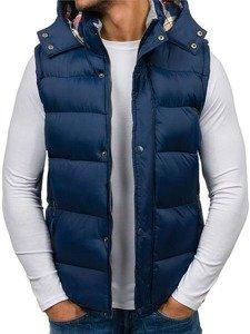 Pánská tmavě modrá vesta s kapucí Bolf K114