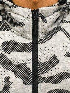 Šedá pánská maskáčová mikina na zip s kapucí Bolf AK36