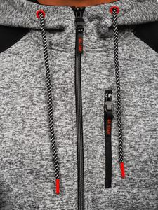Šedá pánská mikina na zip s kapucí Bolf TC1005