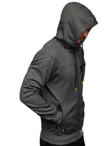 Šedá pánská mikina na zip s kapucí Bolf TC994